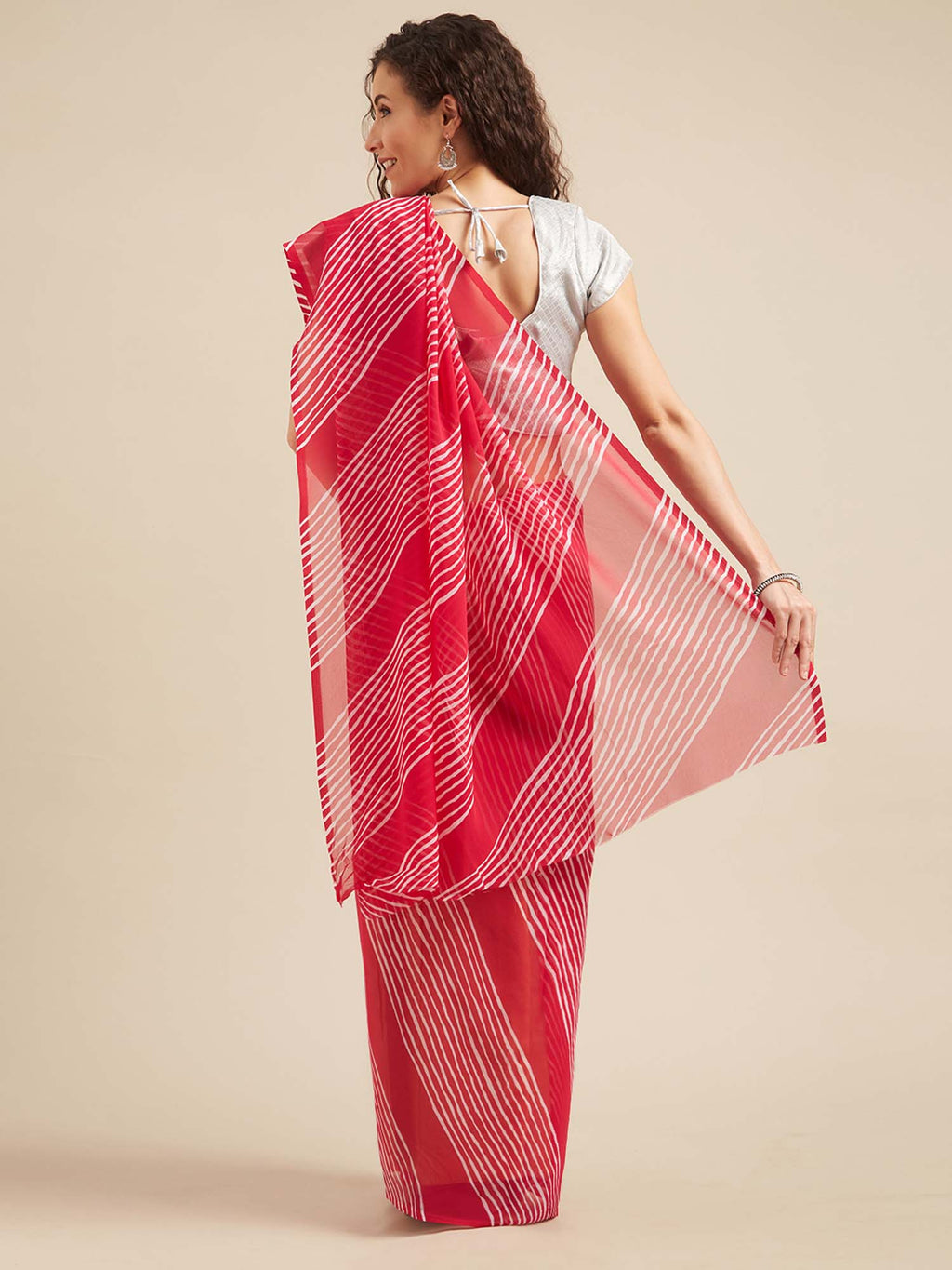 Pink and White Poly Georgette Leheriya Design Casual Wear Saree - Riviera Closet
