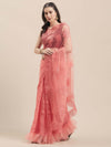 Pink Net Saree With Machine Embroidery & Crystal - Riviera Closet
