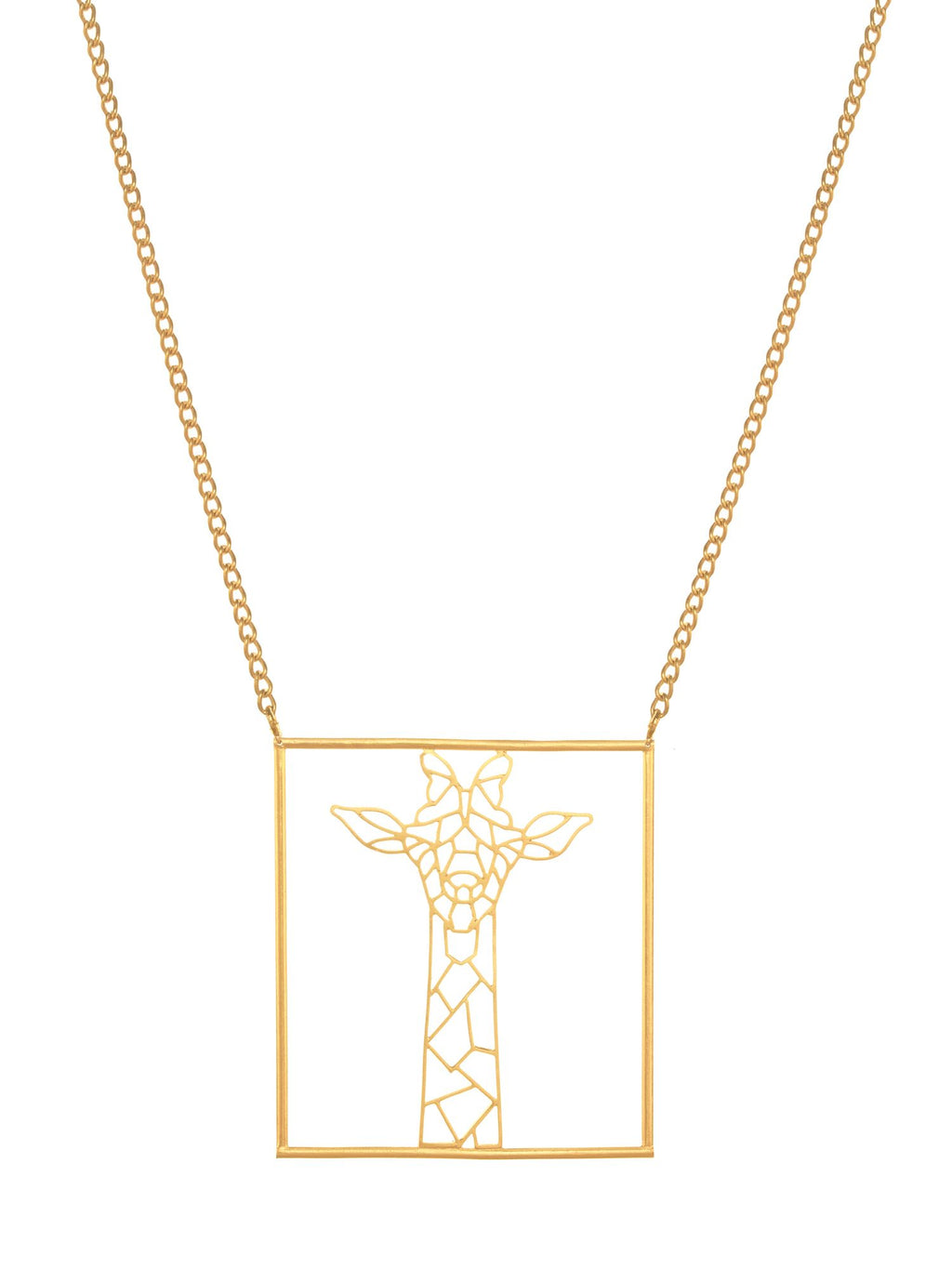 Girafometric Brass Metal Necklace - Riviera Closet