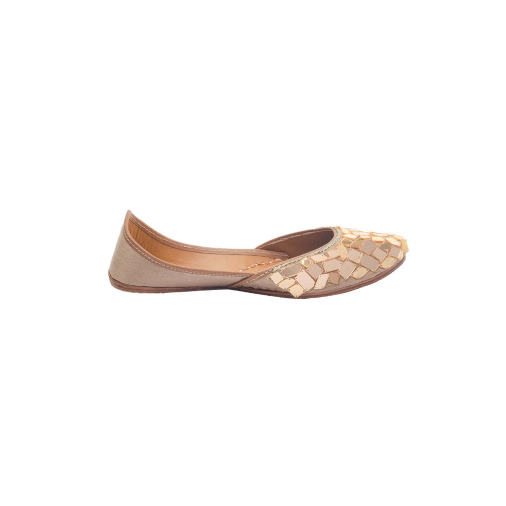 Mosaic Gold Hand Embroidered Juttis - Riviera Closet