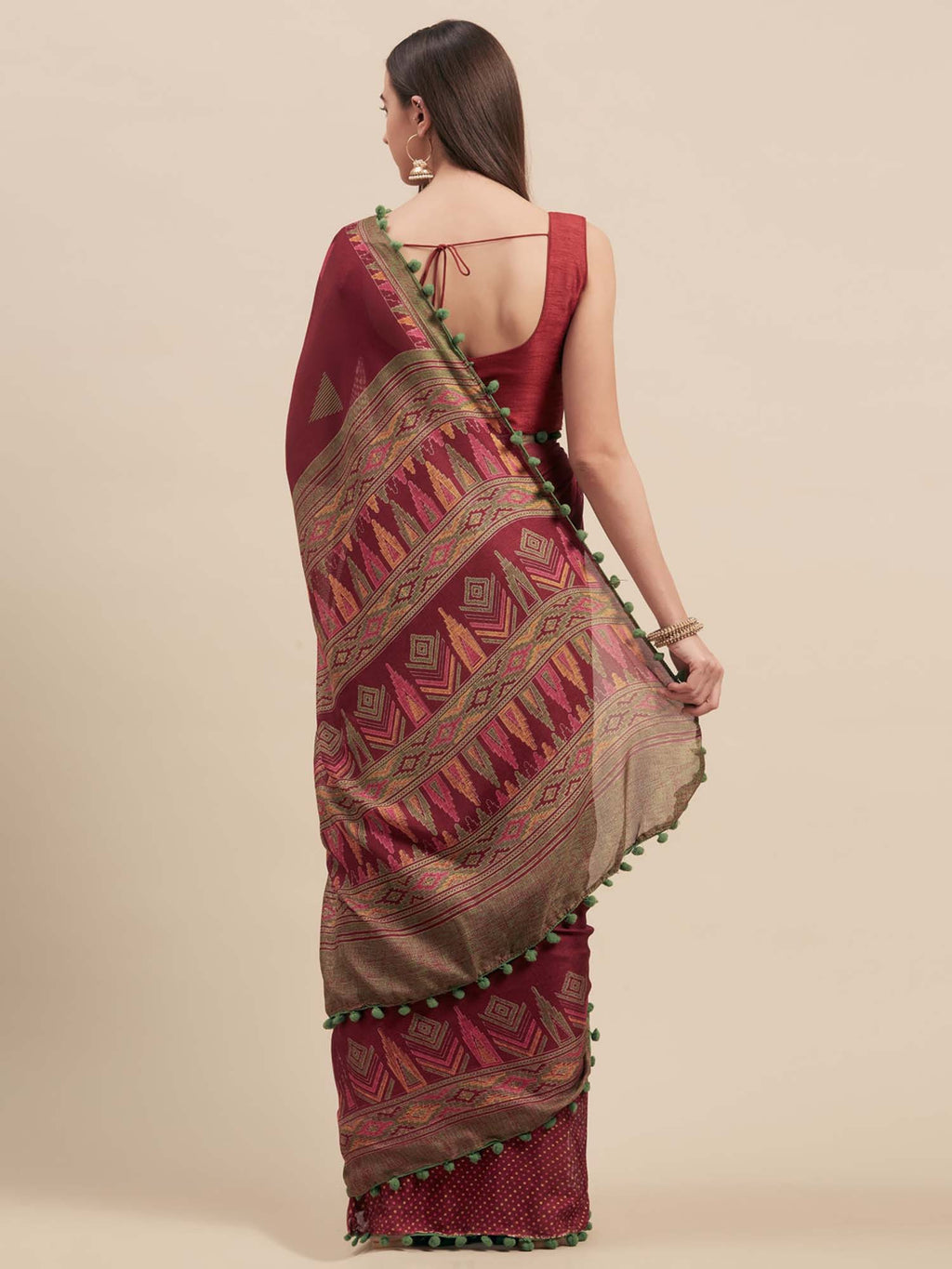 Magenta Jute Cotton Printed Saree With Pom Pom Lace - Riviera Closet