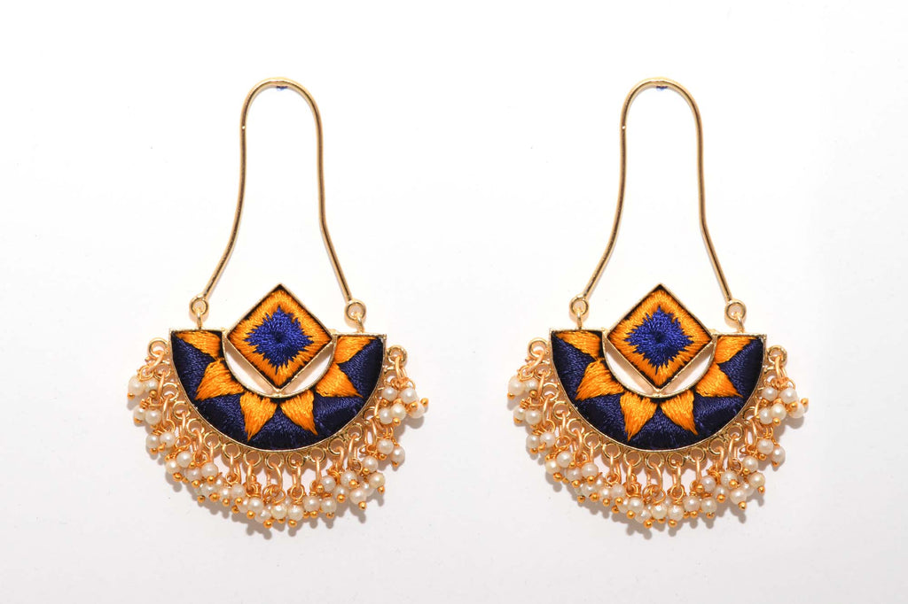 Mustard Yellow and Navy Blue With Thread Embroidery Matte Finished Fusion Of A Geometric Square And An Indian Shaped Chandbali Earrings - Riviera Closet