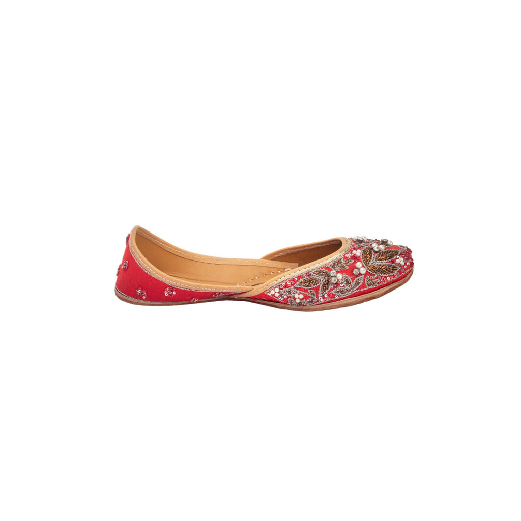 Red Sparkle Embellished Juttis - Riviera Closet