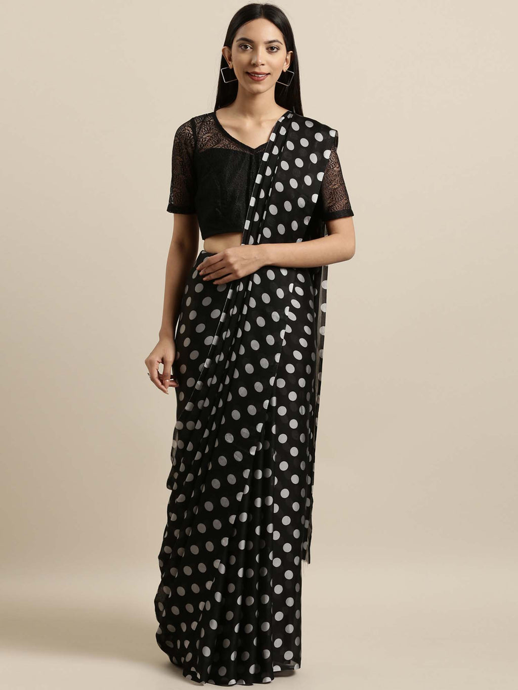Black Printed Poly Crepe Saree - Riviera Closet