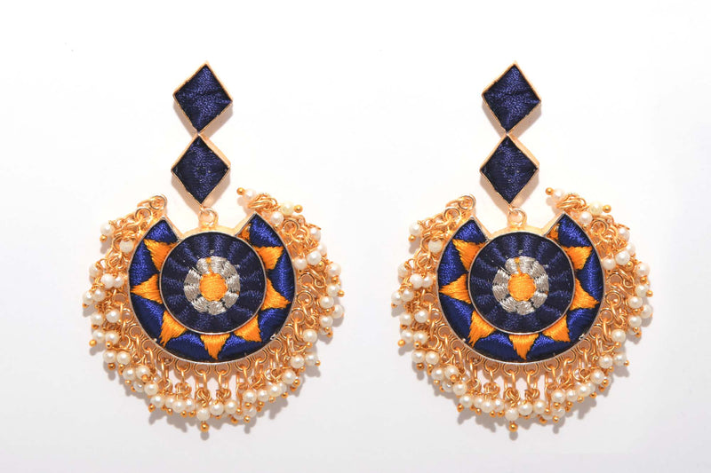Navy Blue And Mustard Yellow With Silver Zari Matte Finished Circle With Moon Shaped Earrings - Riviera Closet