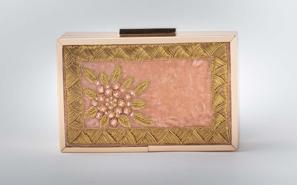 Onion Pink Zardozi Work Clutch - Riviera Closet