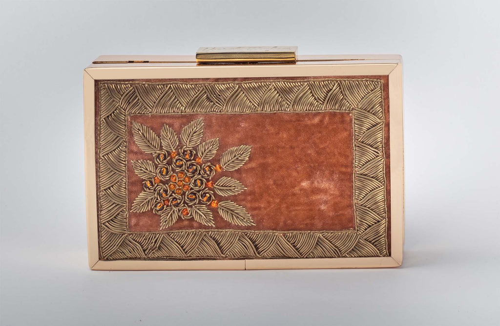 Rust Orange Zardozi Work Clutch - Riviera Closet