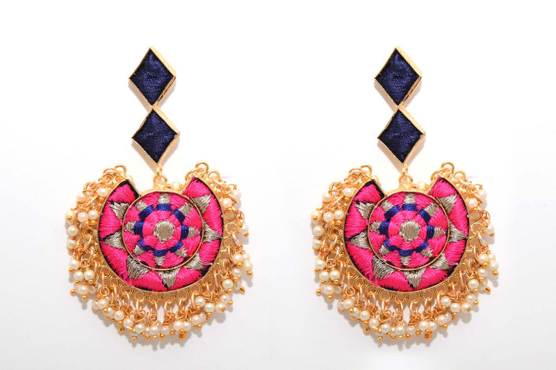 Royal Blue And Pink Matte Finished Circle With Moon Shaped Earrings - Riviera Closet