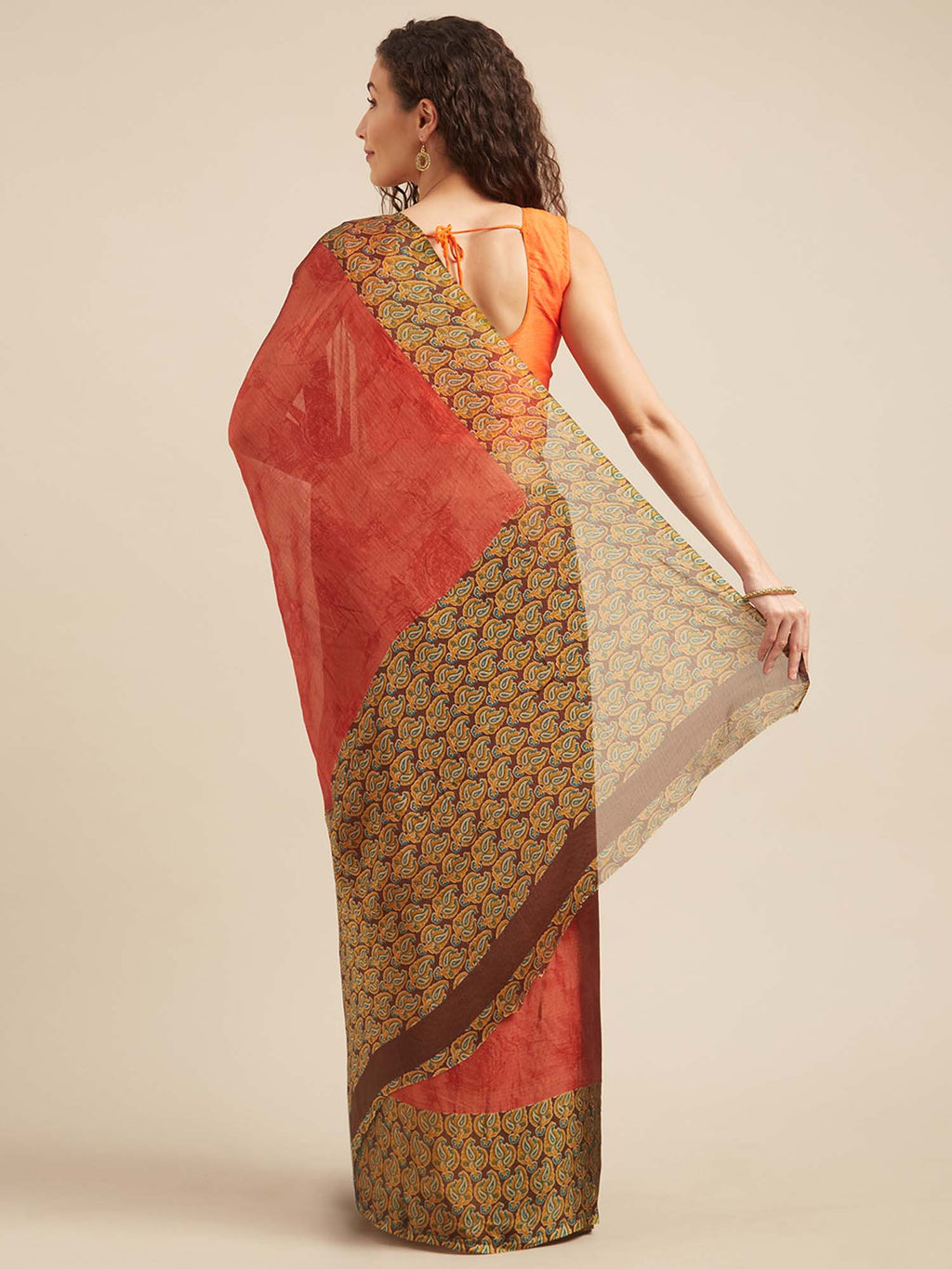 Brown and Rust Poly Crepe Traditional Motif Print Saree - Riviera Closet