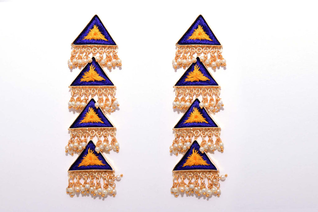 Mustard Yellow and Royal Blue Matte Finished Long Four Layered Triangle Earrings - Riviera Closet
