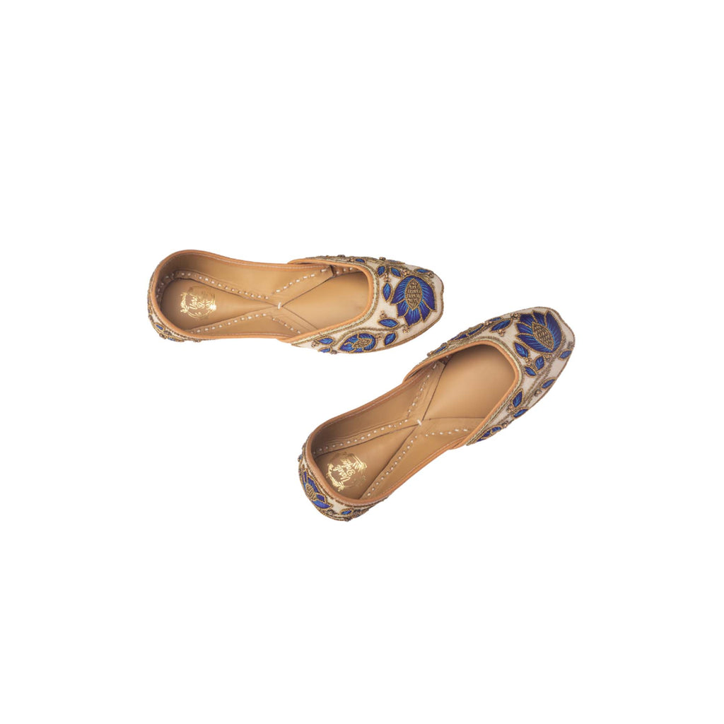 Blue Colour Hand Embroidered Floral Juttis - Riviera Closet