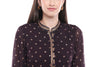 Ikat Printed Black and Beige Sharara and Chinese Collar Top Set - Riviera Closet