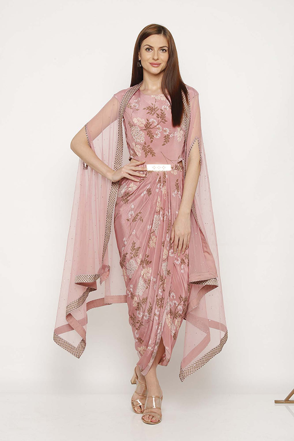Pink Printed Dress with Net Cape - Riviera Closet