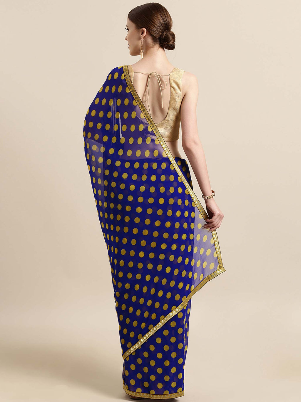 Blue And Yellow Poly Georgette Polka Dots Print With Printed Lace And Solid Dupion Blouse - Riviera Closet