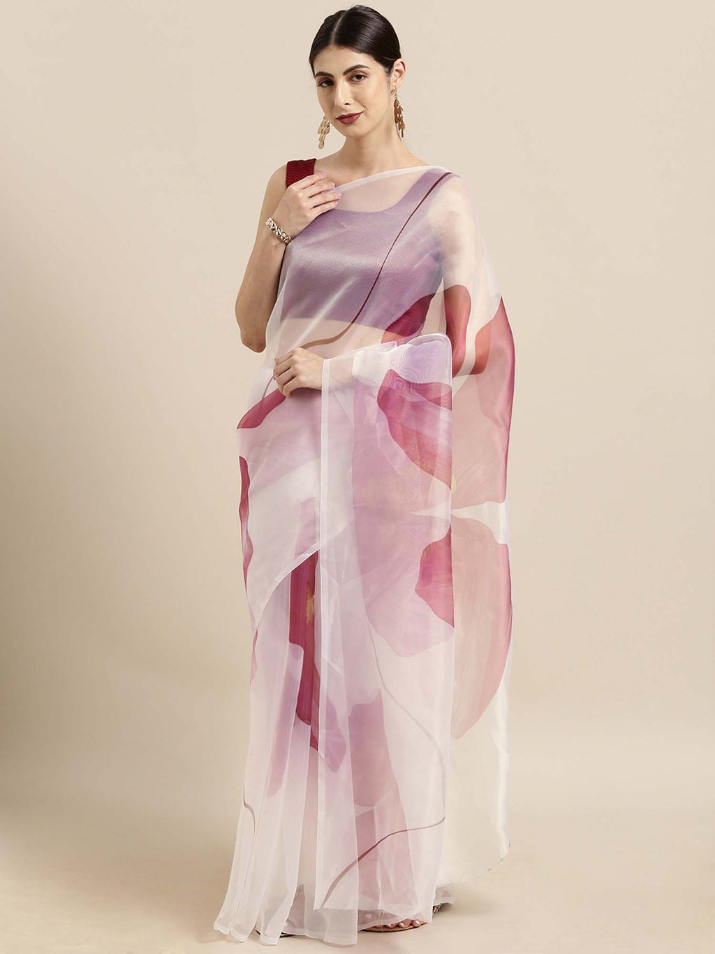 White and Maroon Floral Digital Print Design Oraganza Saree With Poly Dupion Blouse - Riviera Closet