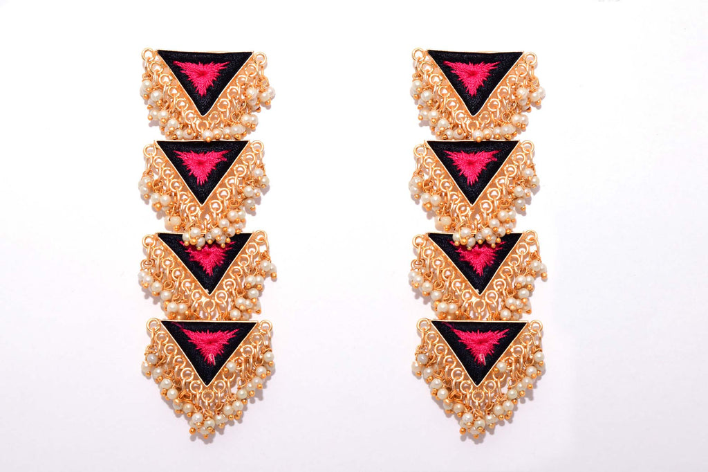 Black And Deep Pink Matte Finished Inverted Long Four Layered Triangle Earrings - Riviera Closet