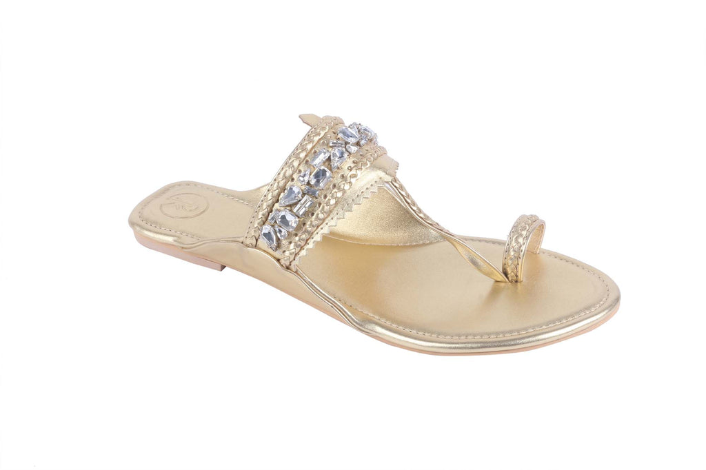 Gold Embellished Flat by Preet Kaur