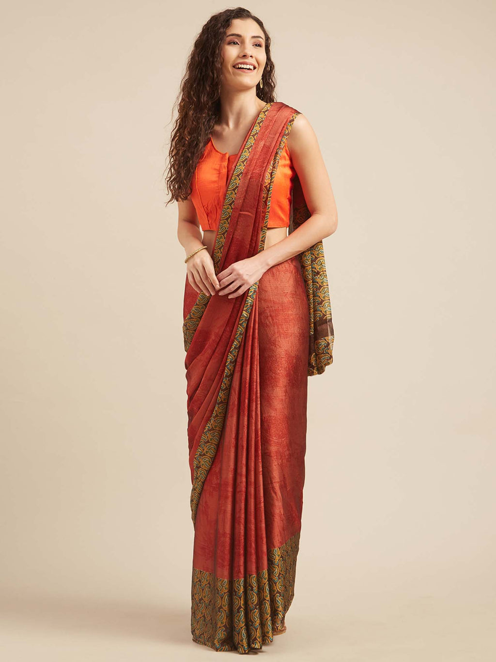 Brown & Rust Poly Crepe Traditional Motif Print Saree - Riviera Closet