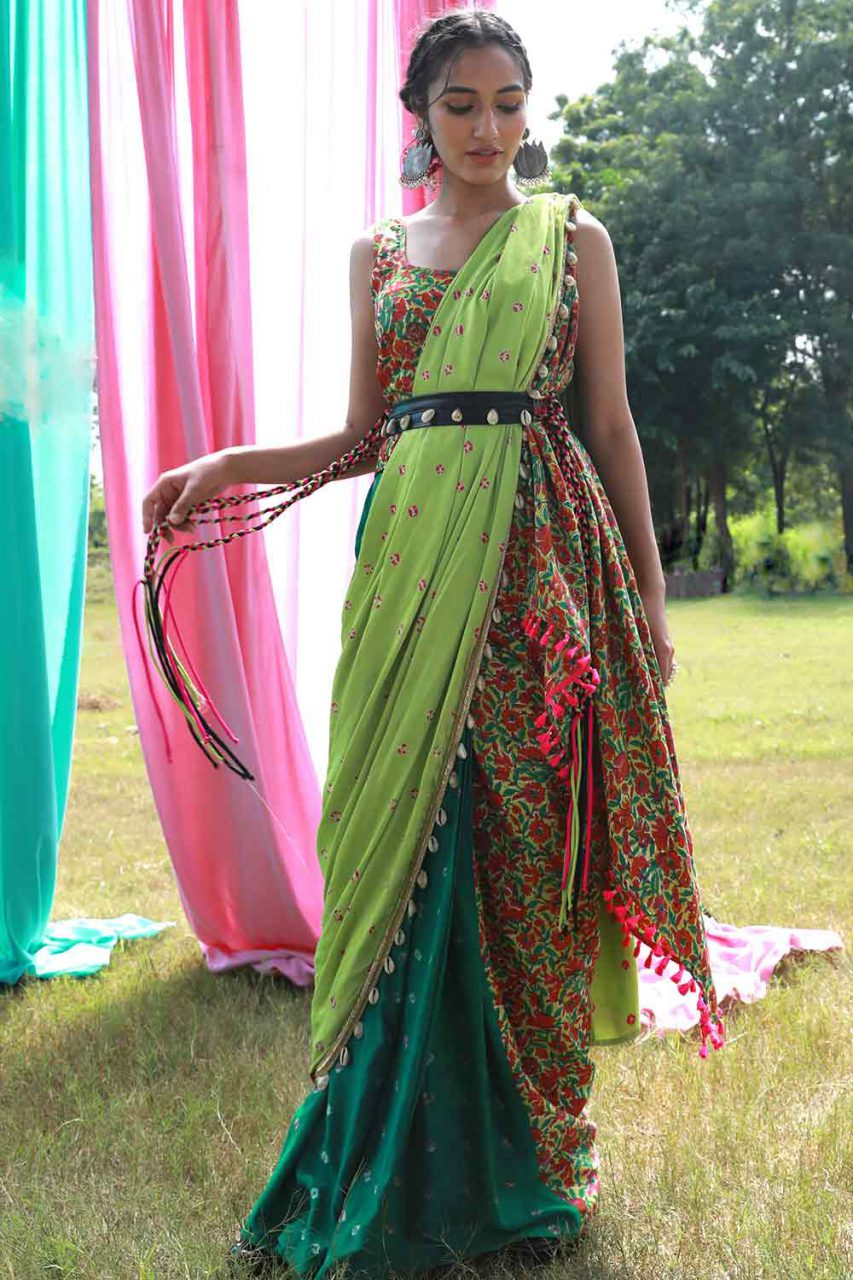 Green Pre Draped Saree with Floral Top and Belt - Riviera Closet