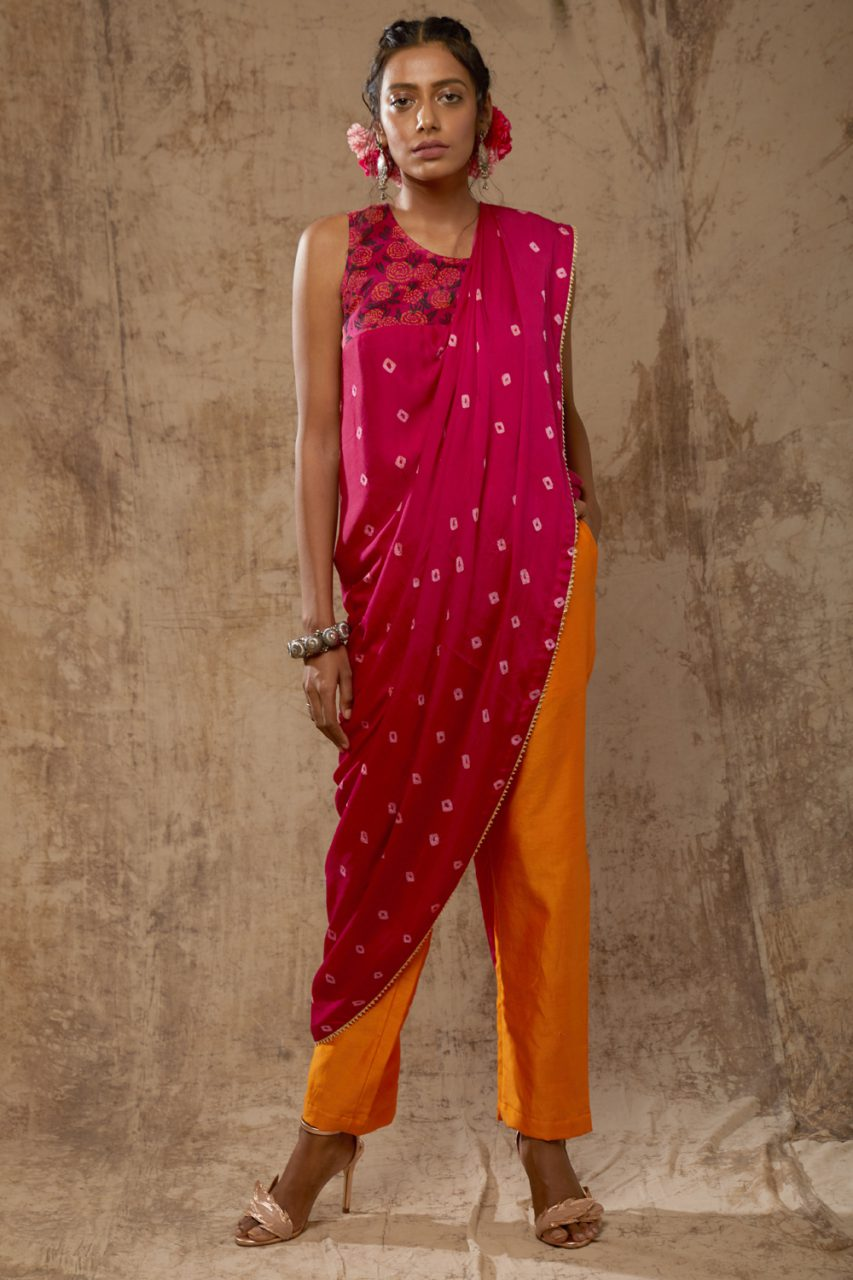 Bandhej Saree Top Set - Riviera Closet