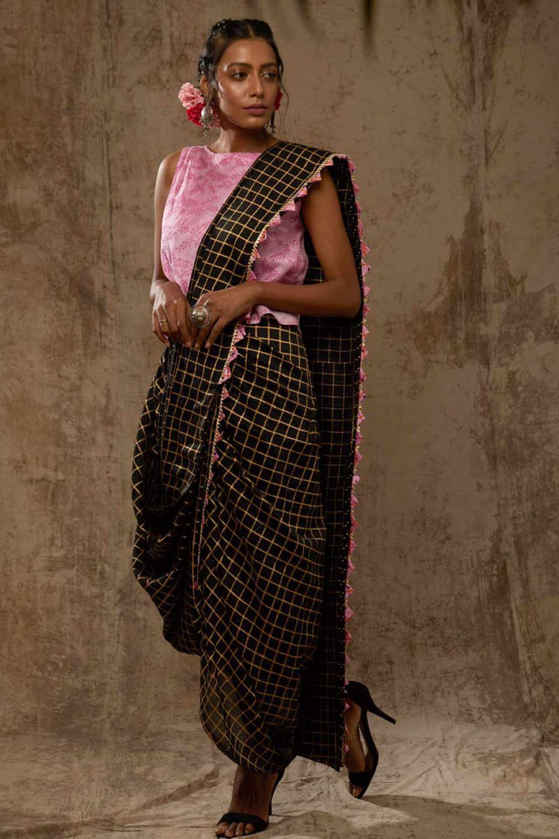 Black Block Printed Checks Saree Dress - Riviera Closet