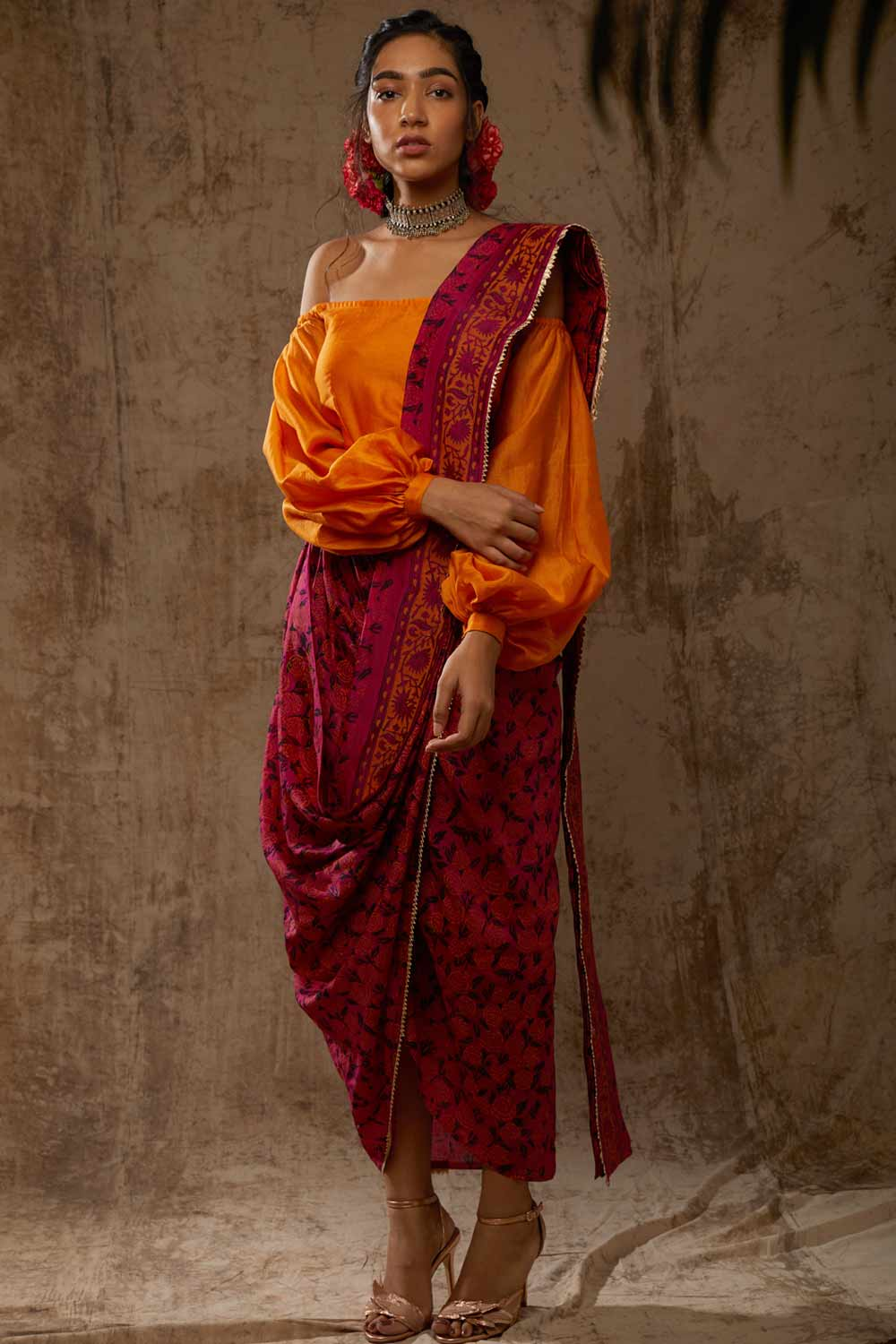 Block Printed Marigold Saree Dress - Riviera Closet