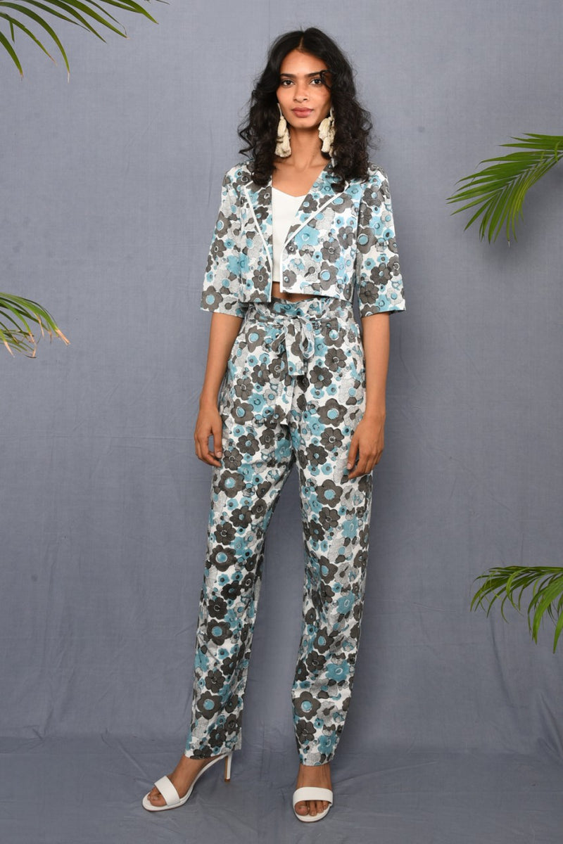 Block Printed Floral Paper Bag Pants - Riviera Closet
