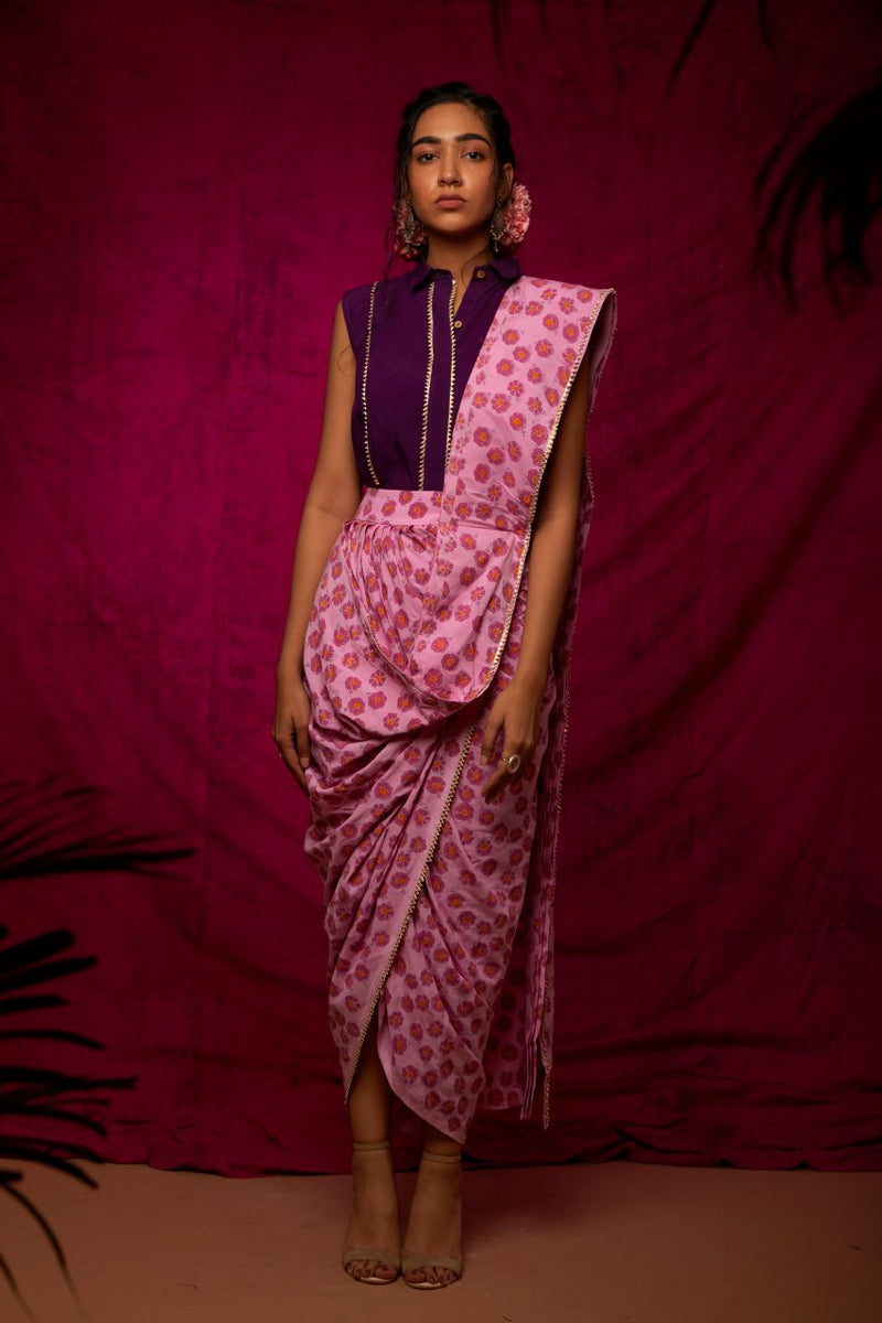 Block Printed Poppy Saree Skirt Set - Riviera Closet