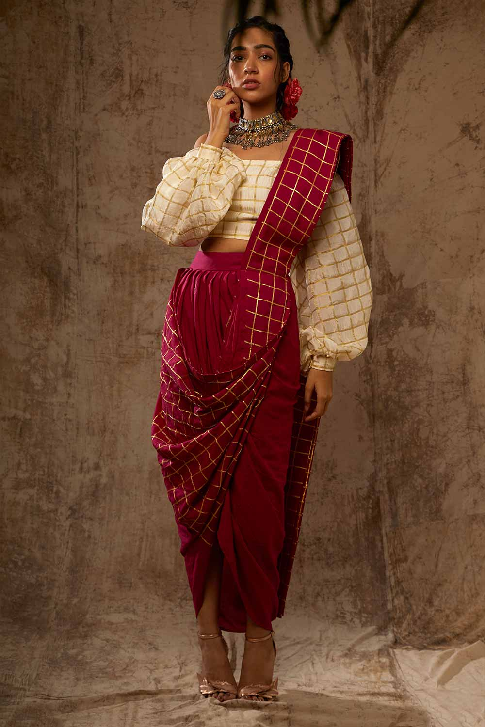 Block Printed Checkered Saree Skirt Set - Riviera Closet
