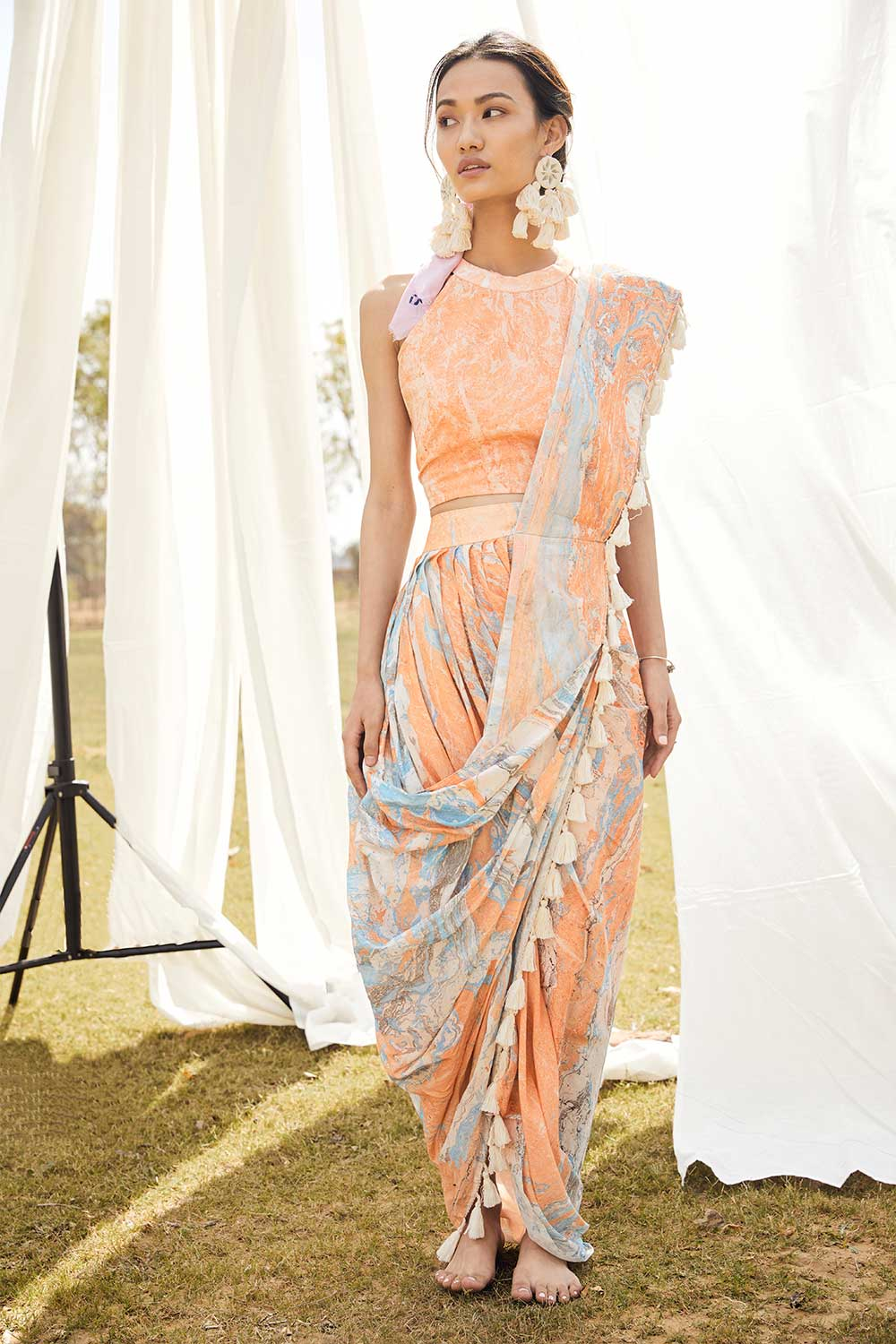 Orange Marble Saree Skirt Set - Riviera Closet