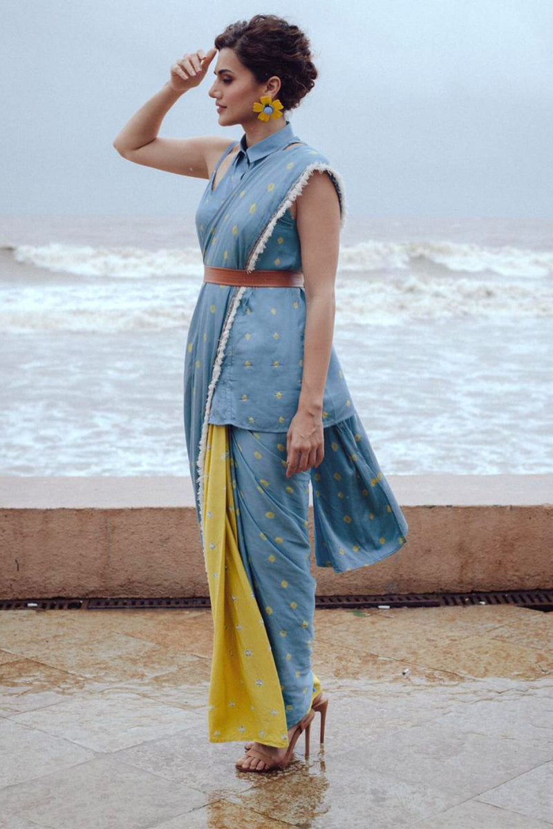 Bandhej Pre Draped Saree With Spaghetti Shirt - Riviera Closet