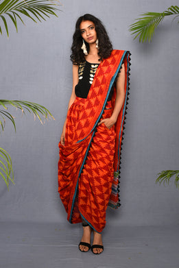 Block Printed Abstract Saree Skirt Set - Riviera Closet