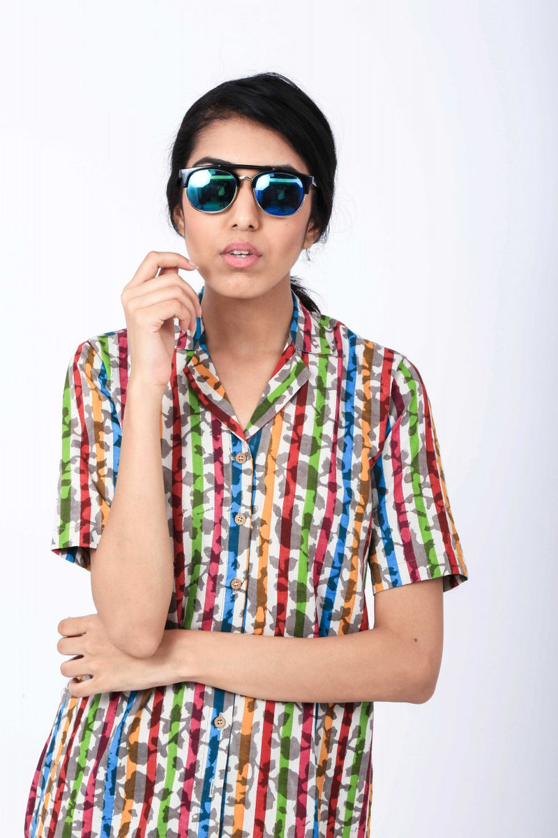 Dabu Colourful Striped Shirt Dress - Riviera Closet