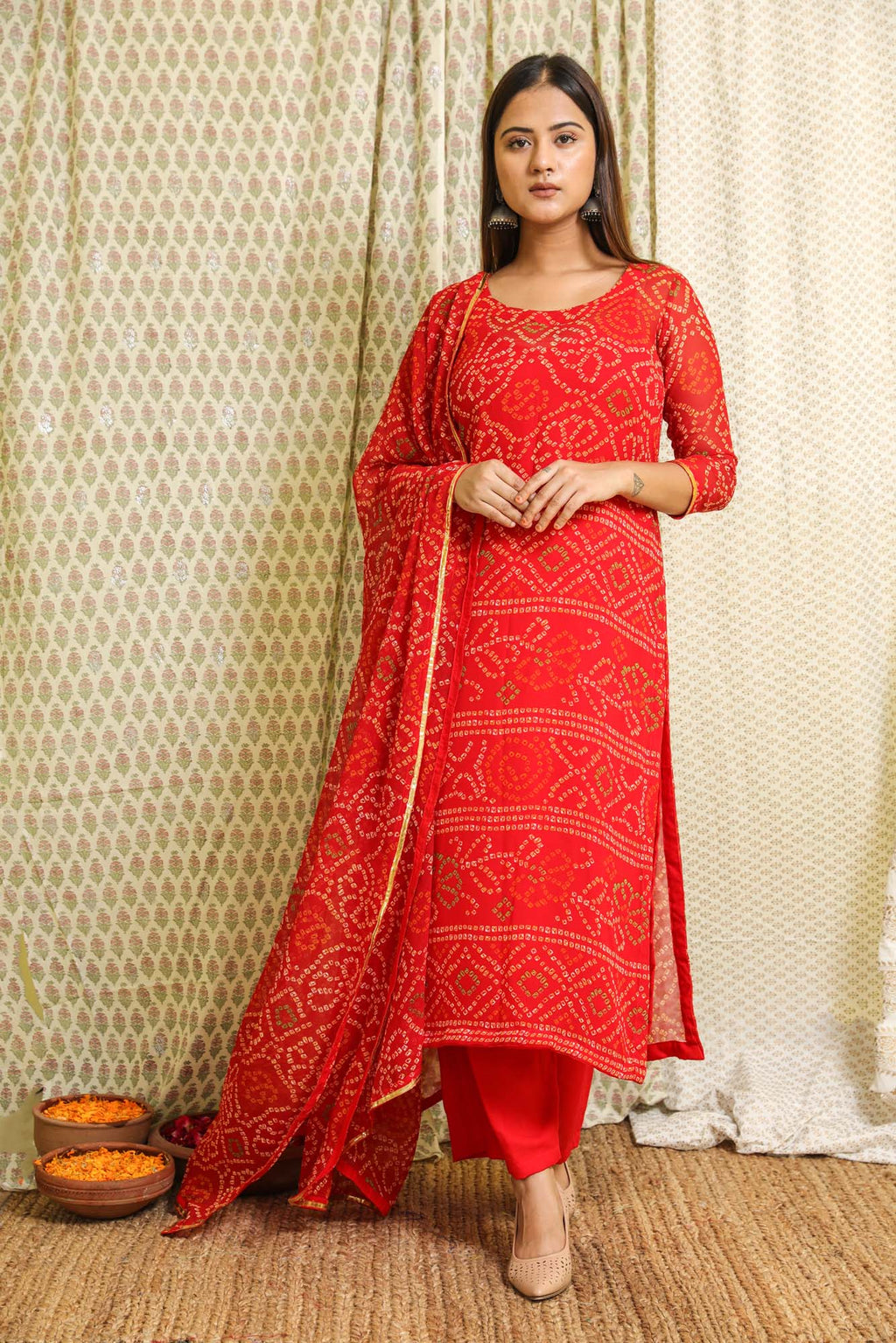 Naaz Red Bandhej Georgette Salwar Suit Set - Riviera Closet