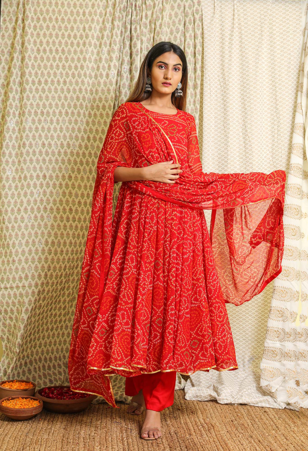 Naaz Red Bandhej Georgette Anarkali Suit Set - Riviera Closet