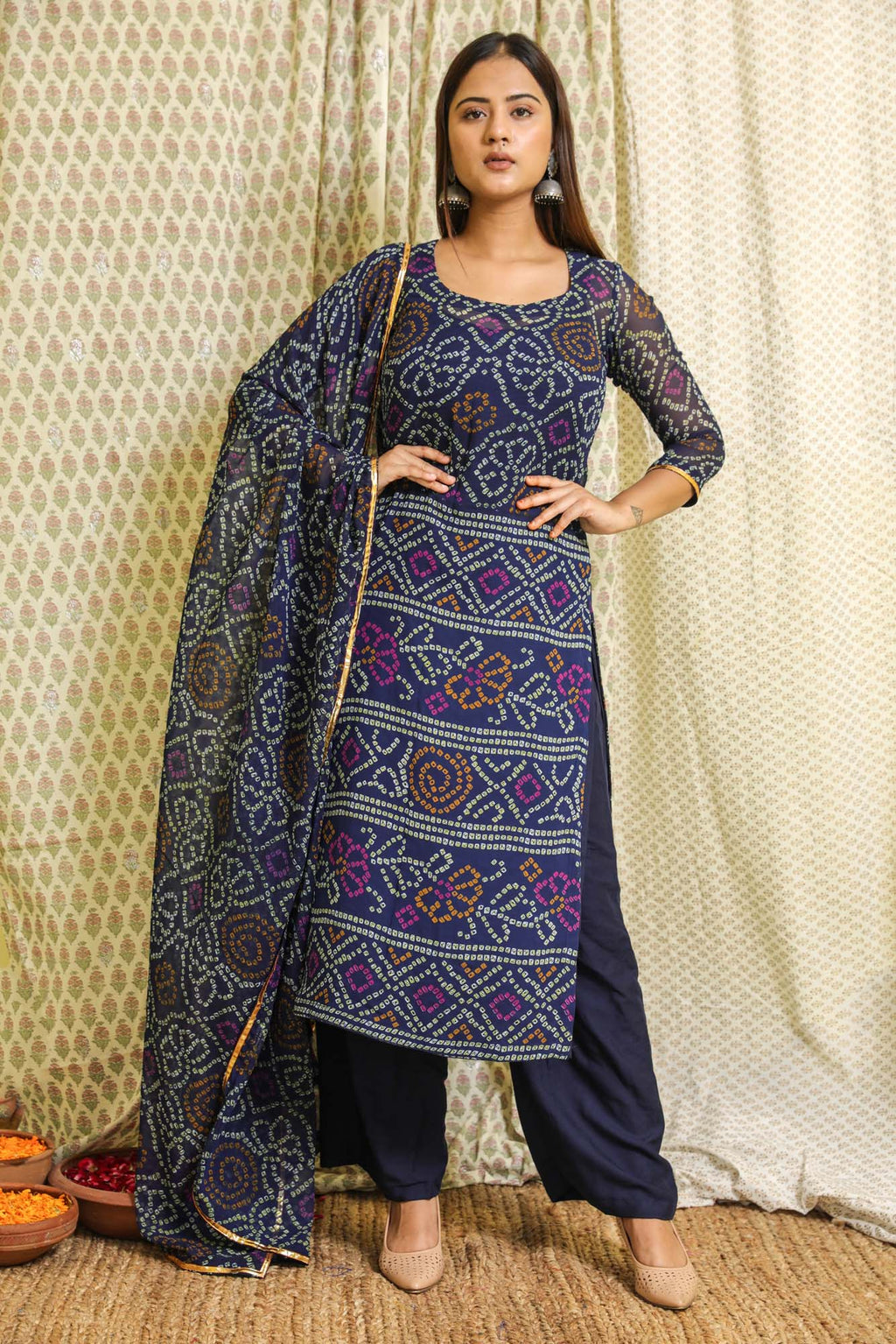 Naaz Blue Bandhej Georgette Salwar Suit Set - Riviera Closet