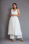 Noori White Sleeveless Anarkali Suit Set - Riviera Closet