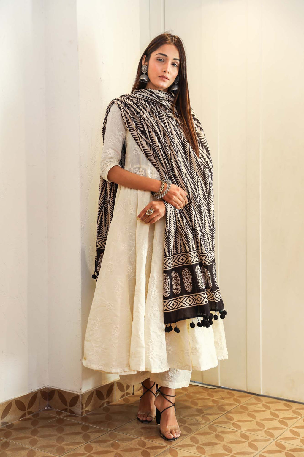 Maya White & Black Chikan Anarkali Suit Set - Riviera Closet