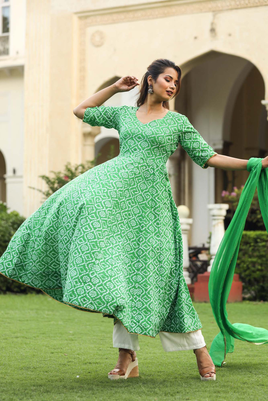 Green Bandhani Anarkali Set with Chiffon Dupatta - Riviera Closet