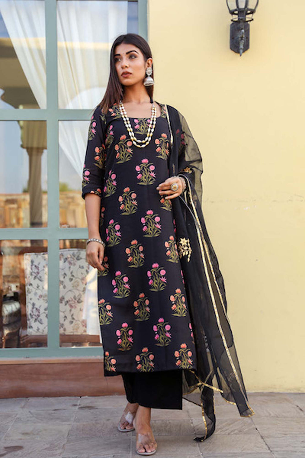 Mehnaaz Black Uppada Silk Salwar Suit Set - Riviera Closet