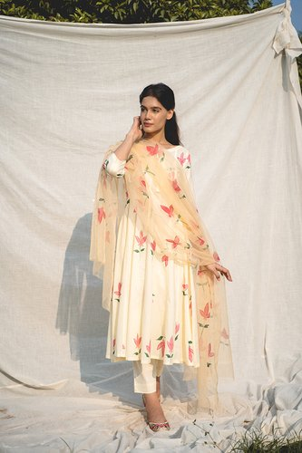Floral Hand Painted Kamala Kurta Suit Set with Organza Dupatta - Riviera Closet