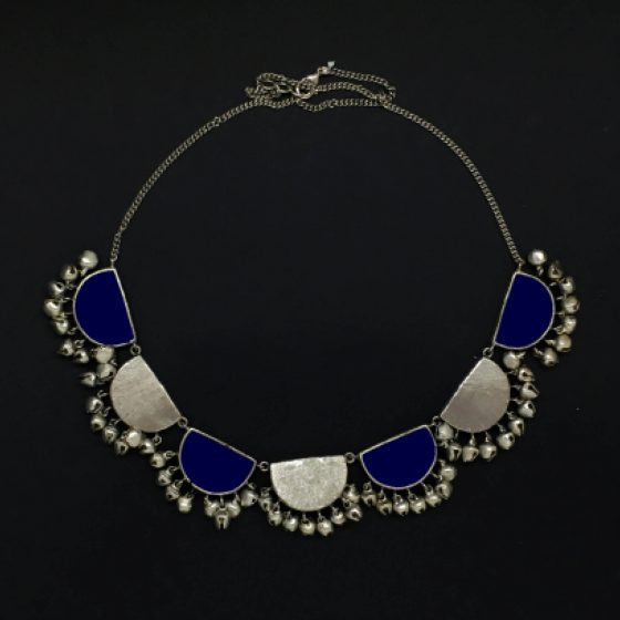 Navy Blue Enamel Half Moon Round Necklace - Riviera Closet