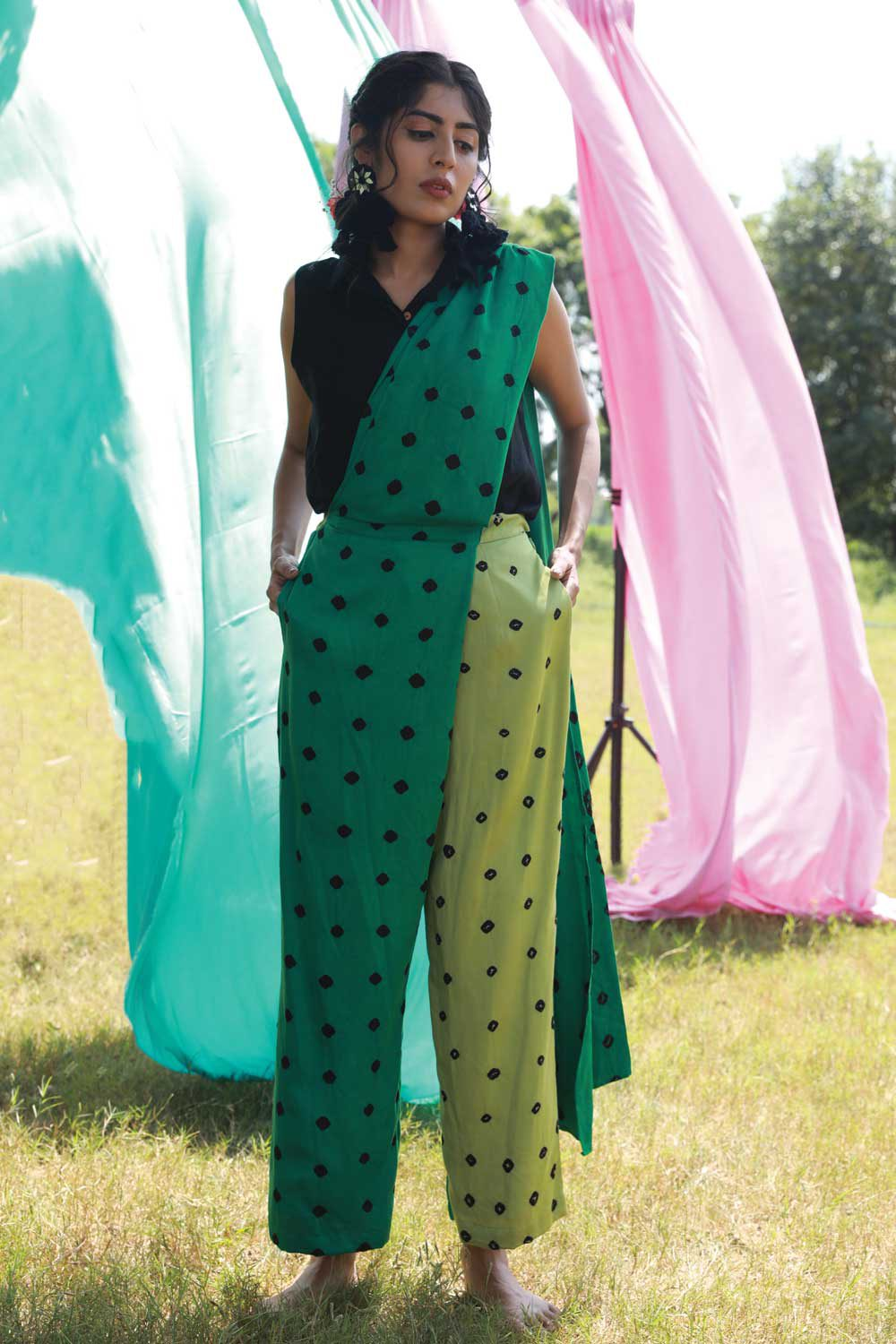 Lime Green Bandhej Saree Pants - Riviera Closet