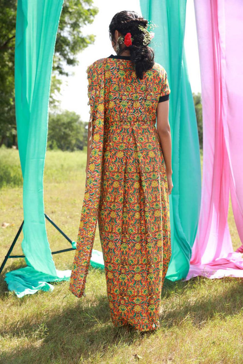 Block Printed T-shirt Saree Dress - Riviera Closet
