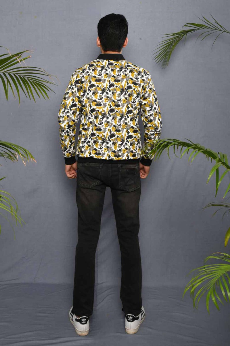 Block Printed Foral Camouflage Bomber Jacket - Riviera Closet