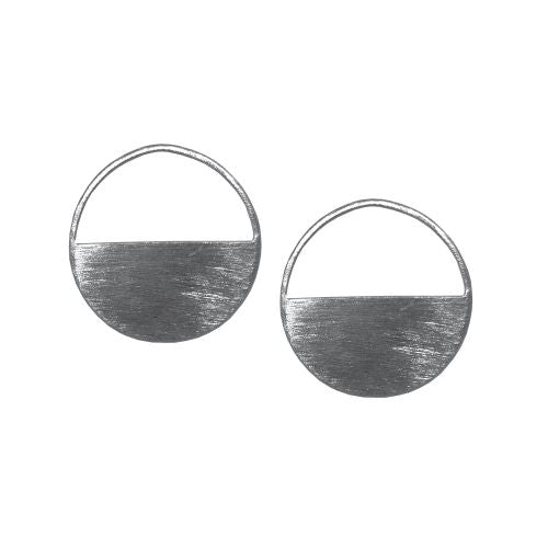 Classic Silver Plated Round Blocks Earrings - Riviera Closet