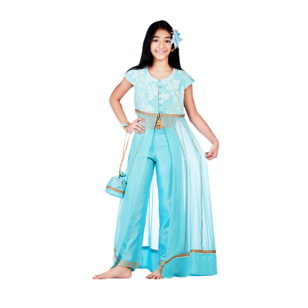 Aqua Rose Anarkali Set - Riviera Closet