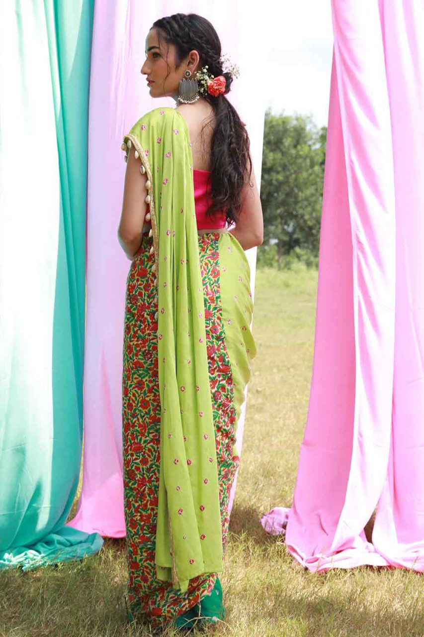 Green Pre Draped Saree with Pink Top and Belt - Riviera Closet