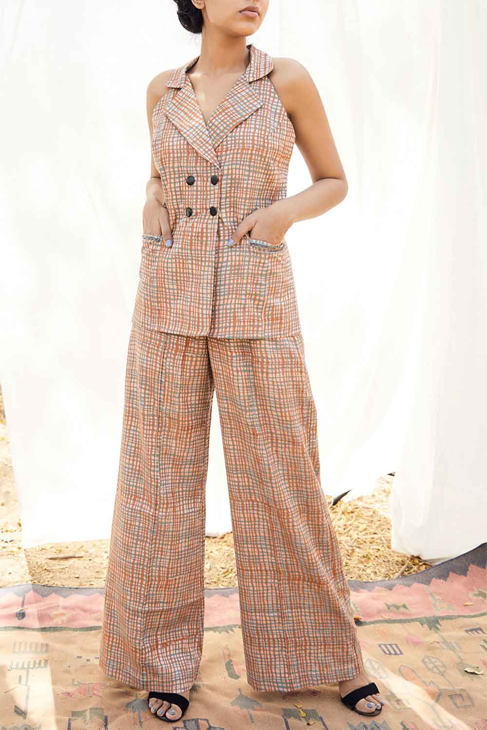 Block Printed Checkered Pant Suit - Riviera Closet
