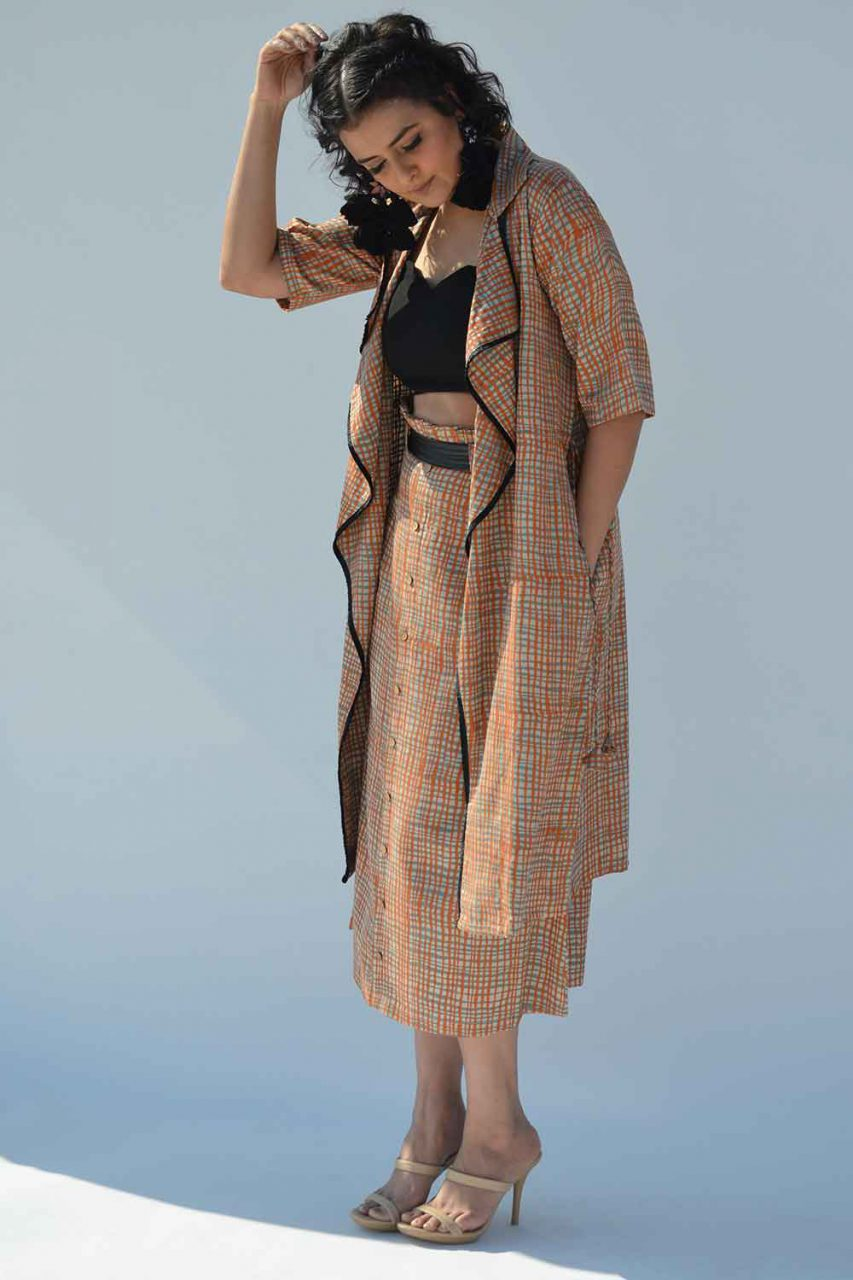 Block Printed Jacket and Skirt Set - Riviera Closet